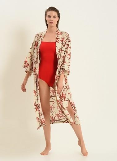 Morhipo Beach Kadın Yaprak Desenli Kimono MBKSS21KI0033 Ekru